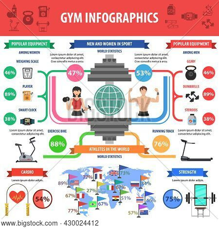 Gym And Fitness Cardio And Bodybuilder Workout Infographics Symbols Set Vector Illustration