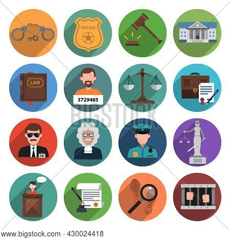 Law Icon Flat Set With Handcuffs Attorney Scales Gavel Isolated Vector Illustration