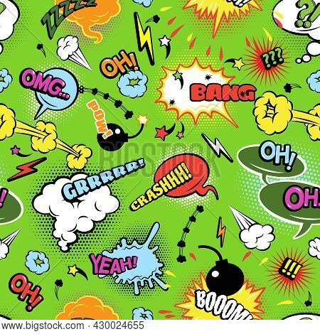 Modern Colorful Comics Seamless Background Pattern With Bombs Lightening And Jagged Clouds Speech Bu