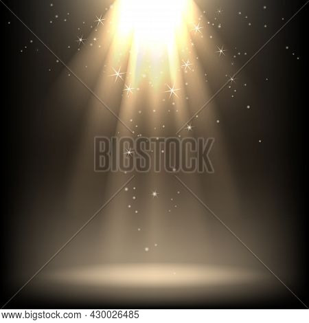 Glitter Spotlights. Sparkle Spotlight Lighting Effects With Isolated Vector Image, Shining Lights Ef