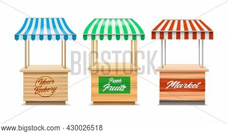 Wood Fair Stands. Wooden Marketing Bakery And Fruit Stalls, Red Green Blue Striped Awning Kiosks, Sh