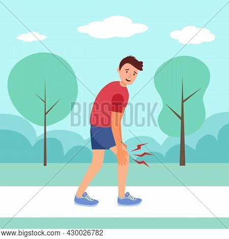 Man Feel Leg Pain When Jogging Exercise In A Park In Flat Design. Muscle Or Bone Problem.