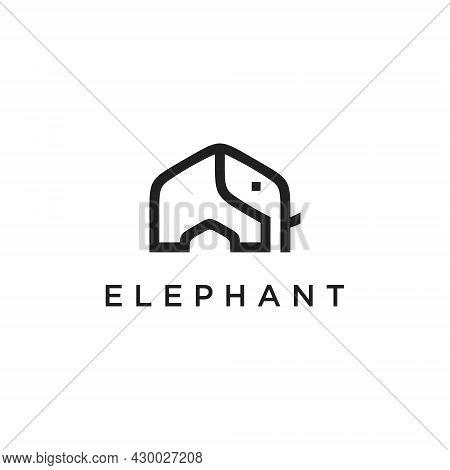 Elephant Line Logo Vector Icon Design Template. Vector Illustration Of The Elephant.