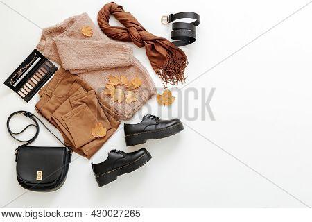 Autumn Season Feminine Outfit. Set Women Female Basic Clothing Flat Lay On White Background With Cop