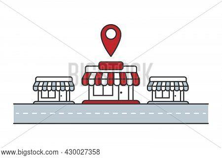 Building Store Location Concept. Franchise Marketing. Vector Illustration