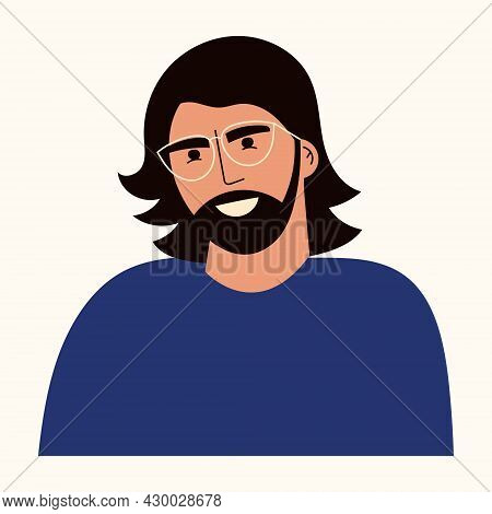 Portrait Of Young Man With Long Hair And Beard. Avatar Of Male Character With Eyeglasses In Casual C
