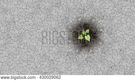 Climate Change Crisis Cycle As A Dried Or Dry Cracked Land Suffering From Drought Turning Into Rich