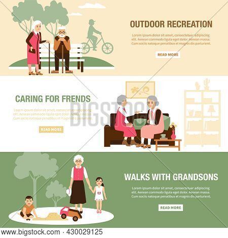 Horizontal Old People Spending Time With Grandson Friends And Walking Flat Isolated Vector Illustrat