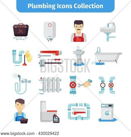 Plumber Flat Icons Collection Of Bath Tub Shower Water Pipes And Tools Kit Abstract Isolated Vector