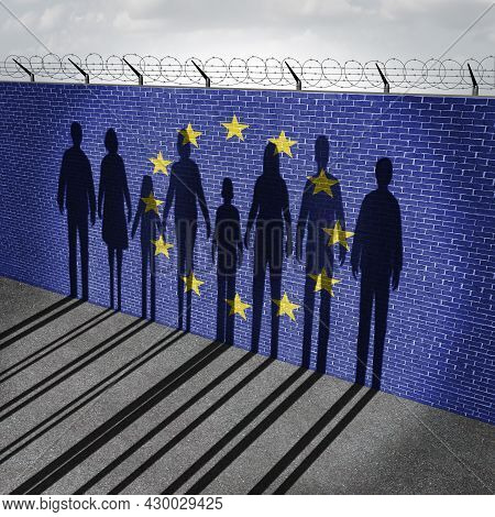 European Union Immigration And Europe Refugee Migrant Crisis Concept As People On A Border Wall With