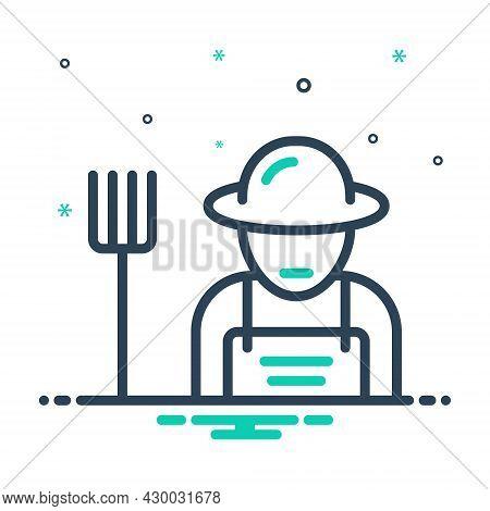 Mix Icon For Farmer Peasant Agriculturist Husbandman Grain-grower Grower Planter