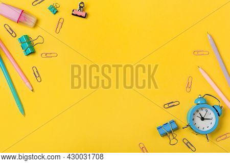 Education, Back To School, Freelancer Work Concept. School Supplies, Stationery Accessories On Edges