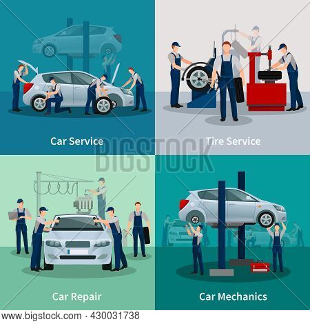 Flat 2x2 Compositions Presenting Work Process In Car And Tire Services Car Repair And Car Mechanics