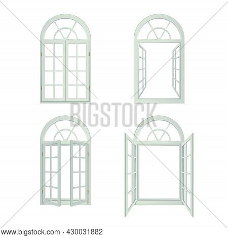 Arched Windows Icons Set. Arched Windows Vector Illustration.arched Windows Decorative Set.  Arched