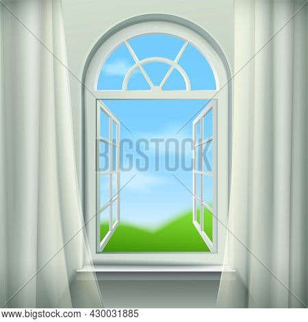 Open Arched Window  Background. Open Arched Window Vector Illustration. Open Arched Window Design. A