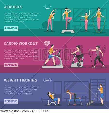 Different Kinds Of Fitness Gym Training Horizontal Banners With Cardio Aerobics And Weight Training