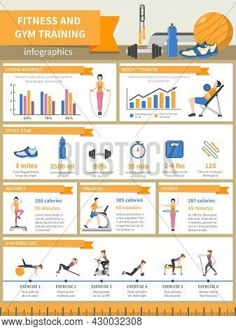 Fitness And Gym Training Infographics Presenting Sport Gear And Describing Exercises With Pictures D