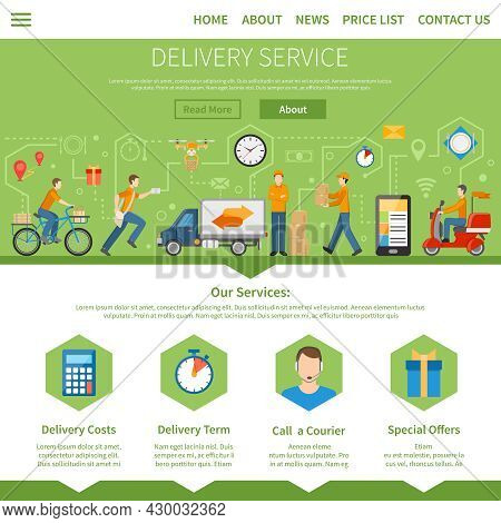 Delivery Service And Courier Page With Description Of Services Including Costs Term Special Offers A