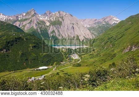 Aerial View Of Riale Alpine Village And Morasco Lake In Val Formazza, Piemonte, Italy