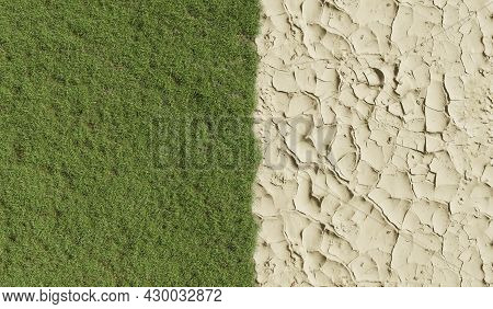 Areal View Of Landscape With Parched Earth And Lush Grassland, Drought, Climate Change, 3d Rendering