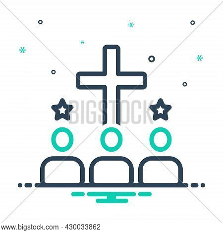 Mix Icon For Acquire Enlist Achieve Religion Faith Creed Worship People