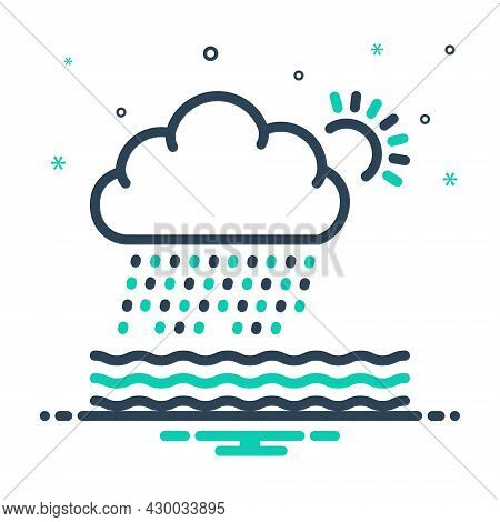 Mix Icon For Heavily Sun Wave Densely Weather Storm Burr Rumble Rain Rainfall Wet-weather Drizzle Cl