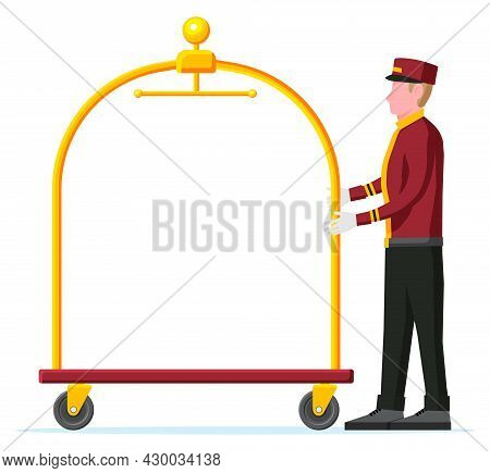 Empty Hotel Luggage Cart And Bellhop Character. Bellboy Worker With Hotel Baggage Trolley Without Ba