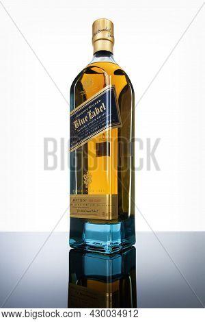 Varna, Bulgaria - April 30, 2021: Bottle Of Johnnie Walker Blue Label, Luxury Whiskey. Johnnie Walke