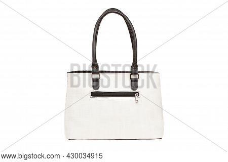 White, Leather Elegant Women Bag. Fashionable Female Handbag, Isolated