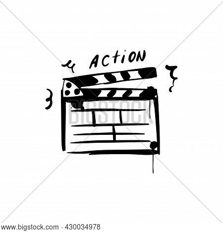 Movie Clapperboard Sketch. Film Set Clapper For Cinema Production. Action. Hand Drawn Icon In Vector