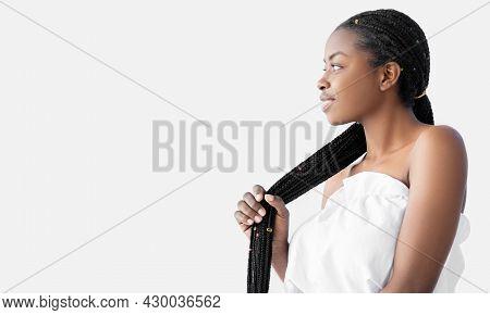 Hair Treatment. African Braids. Hairdressing Fashion. Dreadlocks Hairstyle. Salon Hairdo. Profile Of