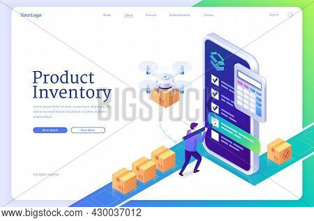 Product Inventory Isometric Landing Page. Logistics Order Processing, Warehouse Tasking, Stock Suppl