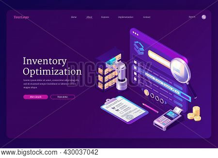 Inventory Optimization Banner. Concept Of Logistic, Accounting And Control Distribution And Storage