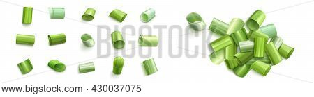 Chopped Green Chive Or Onion Leaves Isolated On White Background. Vector Realistic Set Of 3d Cut Pie