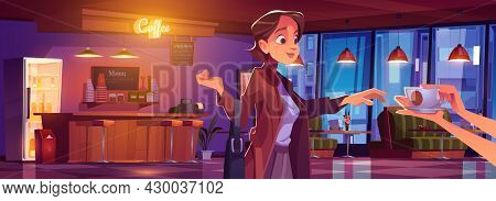 Woman Visiting Coffee Shop, Girl Take Cup Of Hot Drink In Cafe Interior With Cashier Desk, Chalkboar