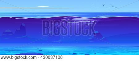 Ocean Or Sea Underwater Background Cross Section View. Sandy Bottom, Rocks And Air Bubbles Floating