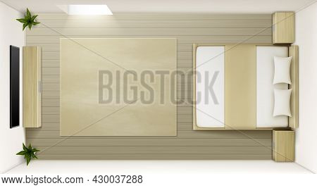 Modern Bedroom Interior Top View. Vector Realistic Mockup Of Empty Sleeping Room With Double Bed Wit