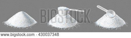 Detergent Washing Powder Pile And Measuring Scoop, Dose Of Dry Soap With Blue Granules For Cleaning