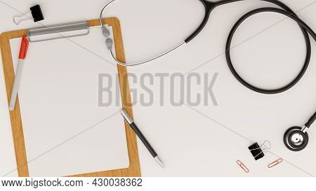 Medical Equipment Concept, Stethoscope, Medical Clipboard Blank Sheet For Your Text