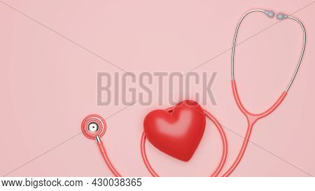 Medical Healthcare Poster, Stethoscope With Red Heart And Copy Space