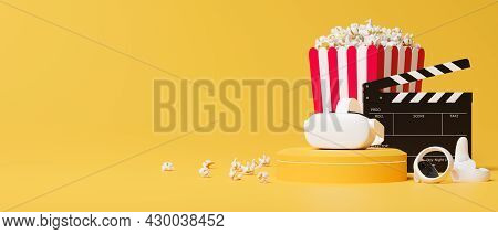 Virtual Reality Glasses, Joystick, Movie Clapper, Popcorn Box, Free Space In Yellow Background
