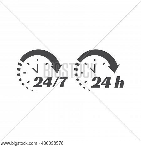 24 7 Clock Circle Arrow For Nonstop Service Icon. Non Stop, Twenty Four Hours Support Vector. Workin