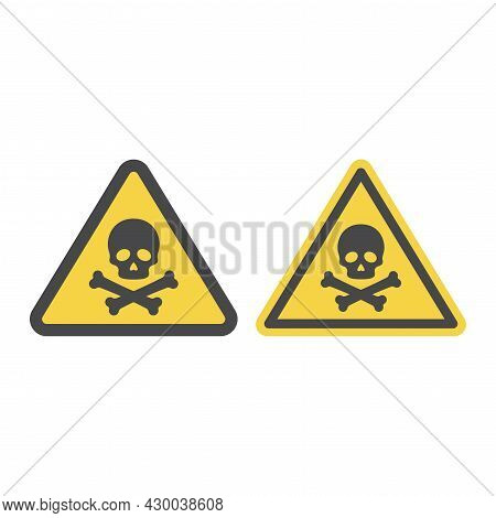 Warning Sign With Skull And Crossbones. Poison, Toxic Or Biohazard Vector Icon.
