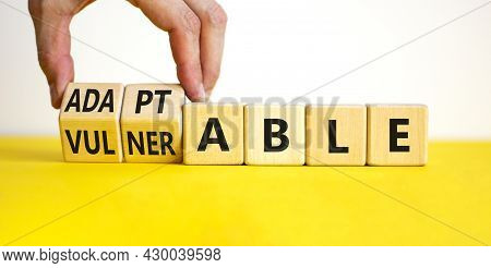 Vulnerable Or Adaptable Symbol. Businessman Turns Wooden Cubes And Changes The Word Vulnerable To Ad