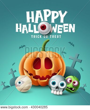 Happy Halloween Background Design. Halloween Trick Or Treat Text With Eyeball Element And Scary Cute