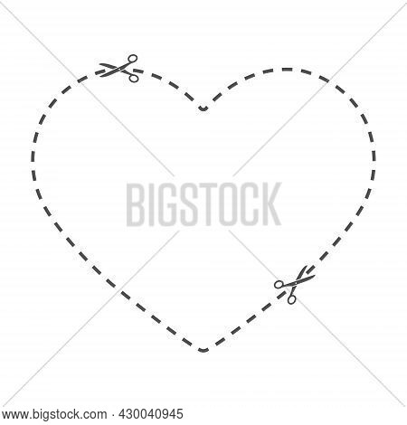 Cutting Line In The Form Of A Heart. A Field For Cutting With Scissors Along The Line. Cut Out The C
