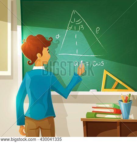 Geometry Lesson Cartoon Background. Geometry Lesson Vector Illustration.  School Education Design.ge