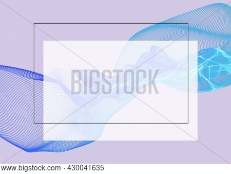 Composition of white frame and light trails on white background. abstract background concept digitally generated image.