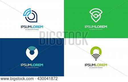 Set Of Map Pointer And Wifi Logo Combination. Gps Locator And Signal Symbol Vector, Signal Point Log