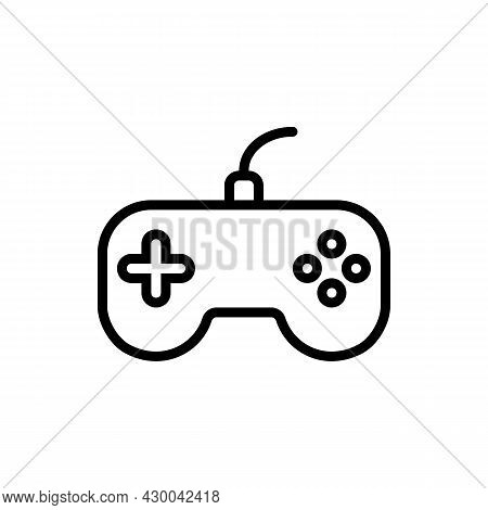 Pixel Perfect Black Thin Line Icon Of A Game Controller. Editable Stroke Vector 64x64 Pixels. Scale